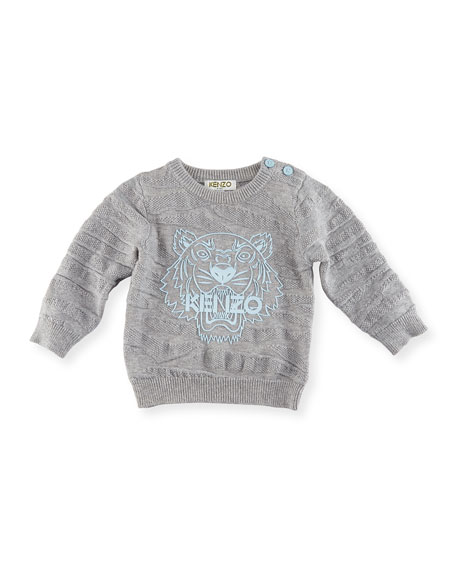 Knit Tiger Pullover Sweater, Gray, Size 2-3Y