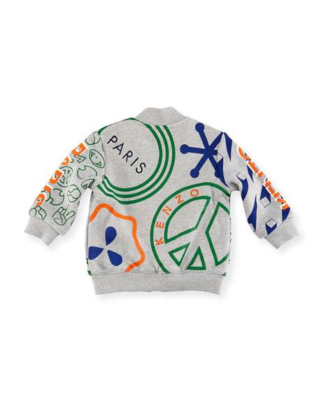 Logo Allover Tiger Jacket, Gray, Size 12-18M