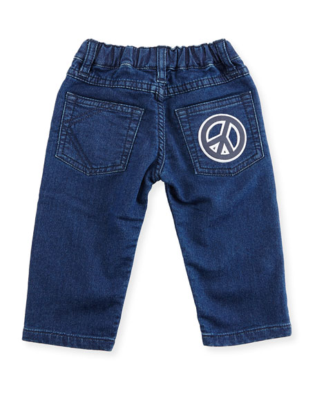 Fleece Patchwork Denim Pants, Blue, Size 12-18M