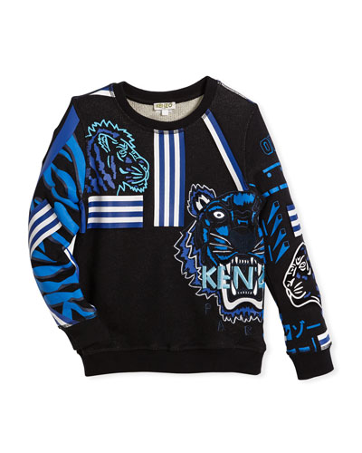 Long-Sleeve Logo Tiger Sweatshirt, Size 4-6
