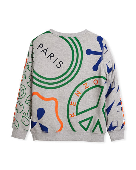 Allover Logo Tiger Print Sweatshirt, Size 4-6
