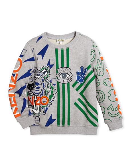 Allover Logo Tiger Print Sweatshirt, Size 4-6