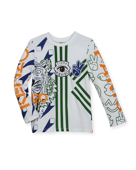 Kenzo Long-Sleeve Logo Tiger Print Tee, Size 4-6