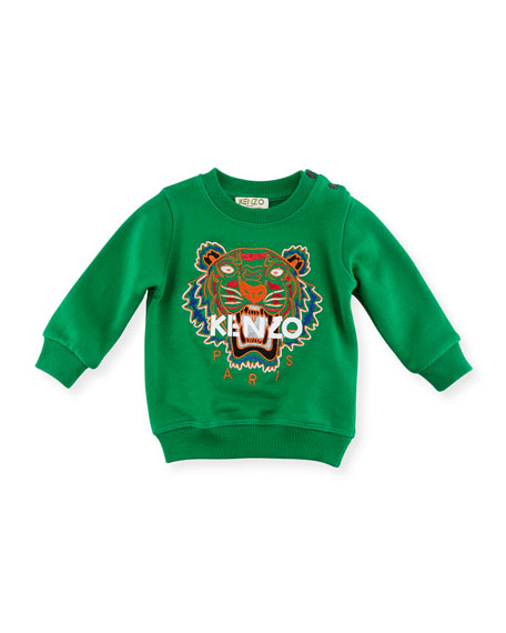 Kenzo Tiger Embroidered Sweater, Green, Size 8-12