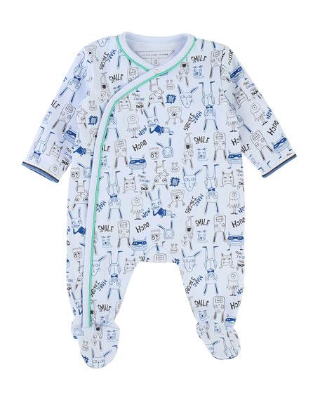 Allover Cartoon-Print Footie Pajamas, Size 3-9 Months