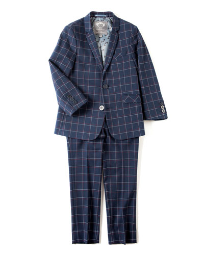 Boys' Two-Piece Plaid Mod Suit, 2T-14