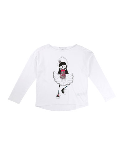 Miss Marc Long-Sleeve Tee, Size 4-5