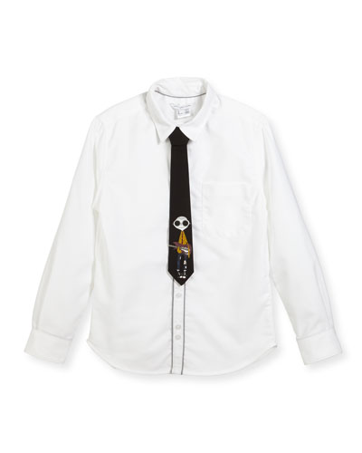 Long-Sleeve Oxford Shirt w/ Mister Marc Tie  Size 6-10