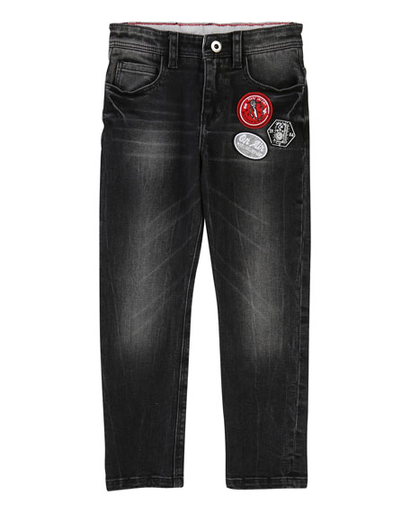 Faded Denim Trousers w/ Badges, Size 6-10