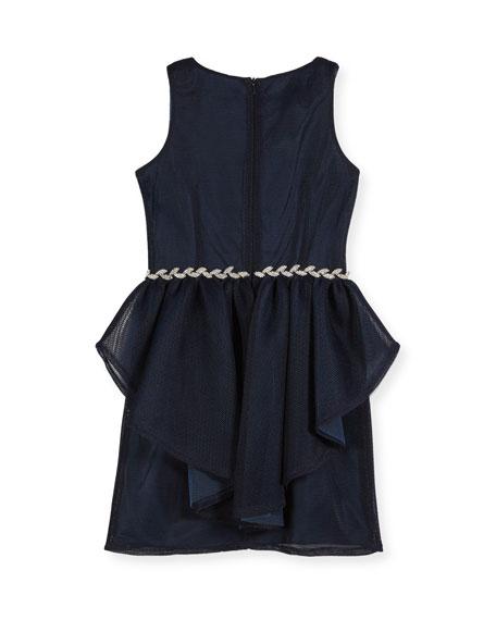 Sleeveless Mesh Peplum Dress w/ Rhinestone Belt, Size 8-16