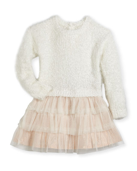 Drop-Waist Sweater Tulle Dress, Size 2-3
