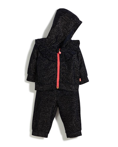 Two-Piece Metallic Velour Track Suit Set, Size 12-18 Months