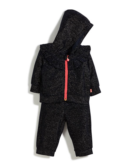 Billieblush Two-Piece Metallic Velour Track Suit Set, Size