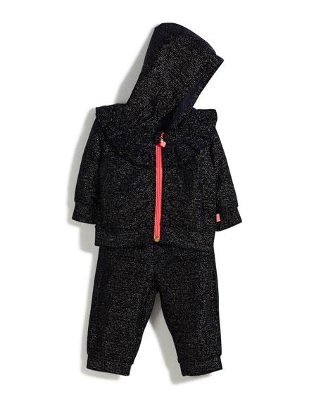 Two-Piece Metallic Velour Track Suit Set, Size 12-18 Months