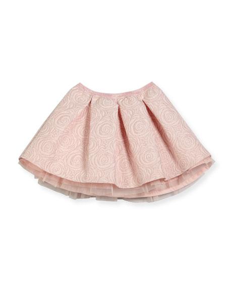 Jacquard Rose-Print Skirt, Size 4-8