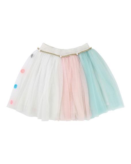 Multicolored Tulle Skirt w/ Metallic Rope Belt, Size 4-8