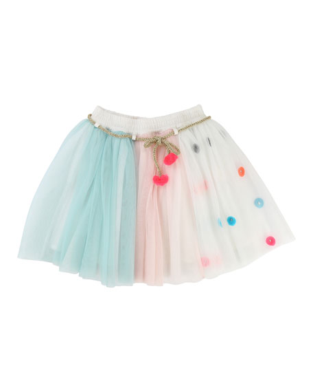 Billieblush Multicolored Tulle Skirt w/ Metallic Rope Belt,