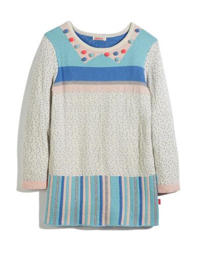 Knit Jacquard Striped & Polka-Dot Dress, Size 4-8