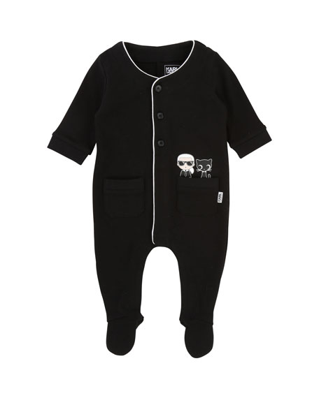 Front-Snap Footie Pajamas w/ Pockets, Size 3-12 Months
