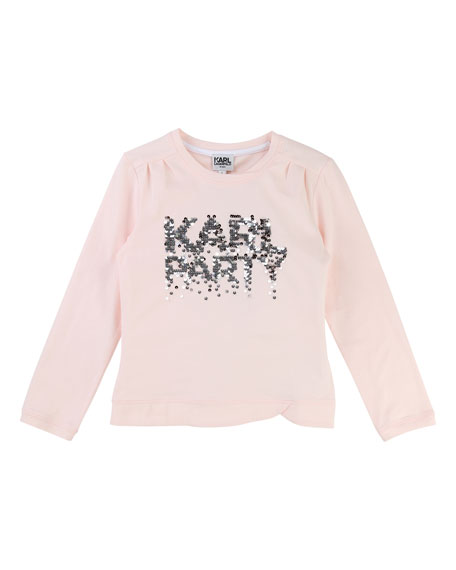 Karl Party Sequin T-Shirt, Size 6-10
