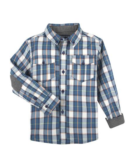 Patch-Elbow Plaid Shirt, Size 2-7