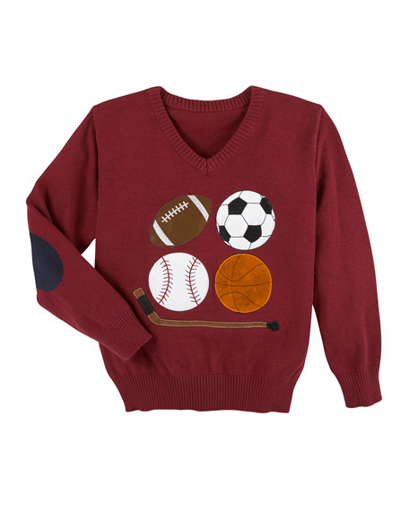 Andy & Evan Embroidered Sports Knit Sweater, Size