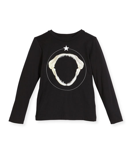 Long-Sleeve Shark Graphic T-Shirt, Size 4-5