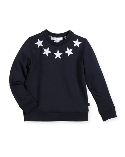 Boys' Crewneck Sweatshirt w/ Star Patches, Size 6-10
