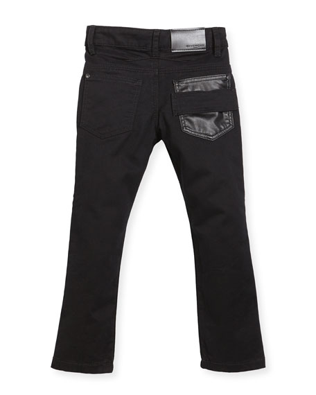 Jeans w/ Faux-Leather Trim, Black, Size 12-14