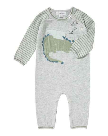 Sleeping Dragon Intarsia Knit Coverall, Size 0-12 Months