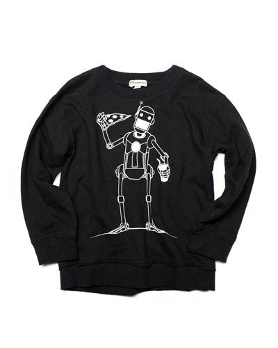 Highland Glow-in-the-Dark Pizza Robot Sweatshirt, Size 2-10