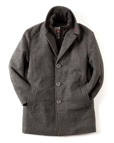 Herringbone City Overcoat, Size 2T-10