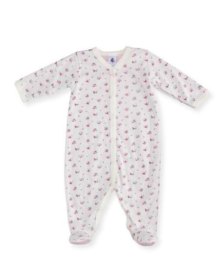 Floral-Print Footie Pajamas, Size Newborn-9M