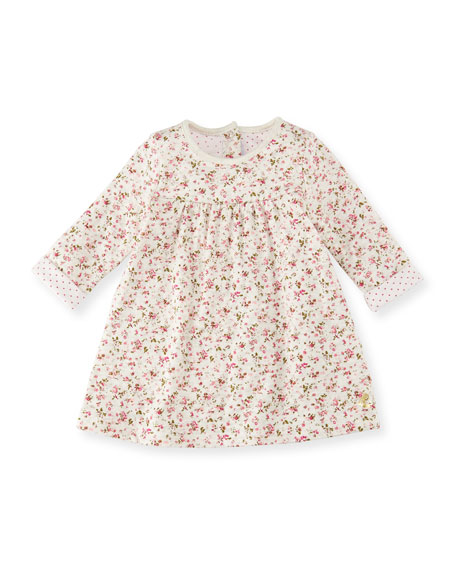 Long-Sleeve Floral-Print Cotton Dress, Size 3-36 Months
