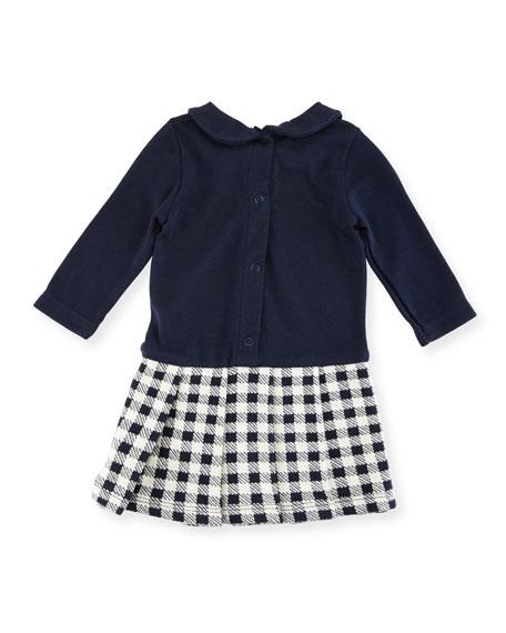 Long-Sleeve Dress w/ Checkered Skirt, Size 3-36 Months