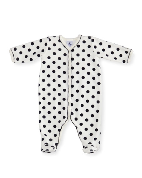Velour Polka-Dot Front Snap Footie Pajamas, Size 1-9 Months