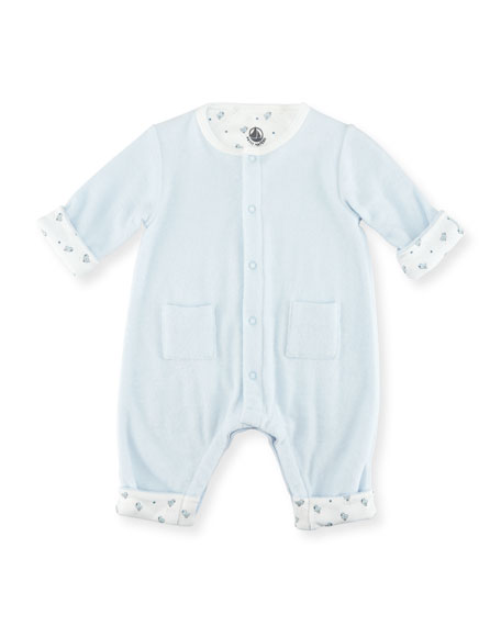 Petit Bateau Long-Sleeve Terry Cloth Coverall, Size Newborn-6M