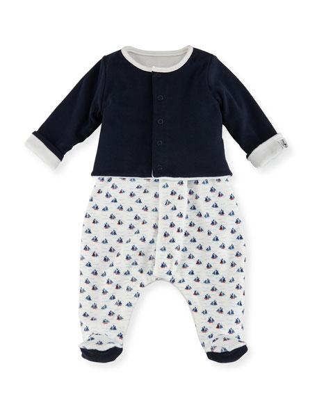 Boat-Print Sleeveless Footie Pajamas w/ Cardigan, Size Newborn-6M