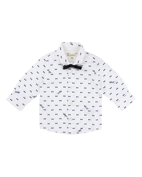 Bow Tie Dino-Print Button-Down Shirt w/ Bow Tie, Size 2-3