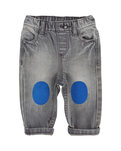 Faded Denim Pants w/ Knee Patches, Size 2-3
