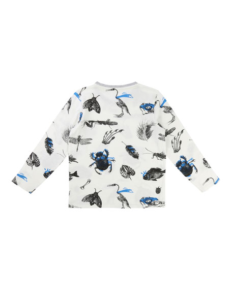 Long-Sleeve Allover Bug & Leaf Print T-Shirt, Size 3-8