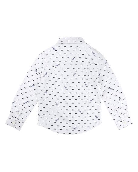 Bow Tie Dino-Print Button-Down Shirt w/ Wool Bow Tie, Size 4-8