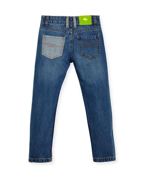 Patchwork Denim Jeans, Size 4-8