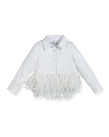 Milly Minis Cotton-Stretch Poplin Button-Down Top w/ Feather