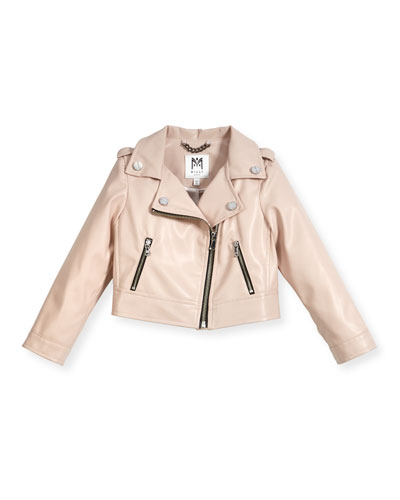 Vegan Leather Moto Jacket, Size 4-7