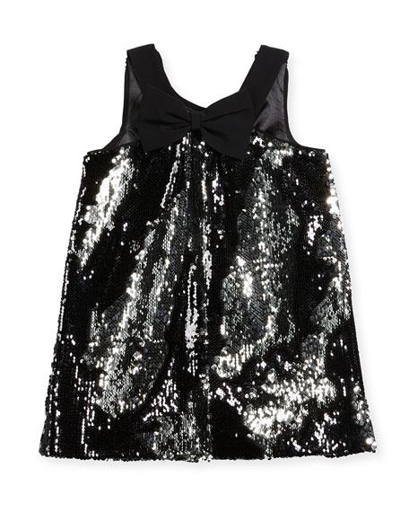 Kat Sequin Bow-Back Shift Dress, Size 4-7