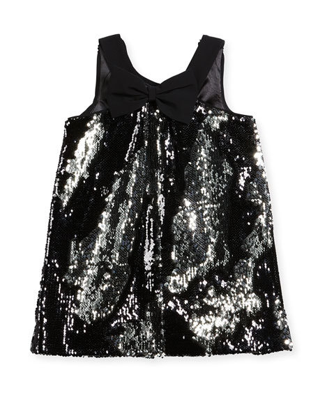 Kat Sequin Bow-Back Shift Dress, Size 8-16