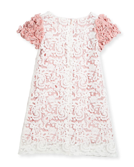Celia Two-Tone Lace Dress w/ Rosette Sleeves, Size 10-14
