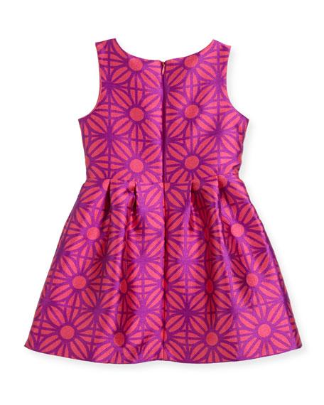Sleeveless Daria Geo-Print Party Dress, Size 2-4