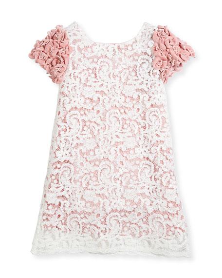 Celia Two-Tone Lace Dress w/ Rosette Sleeves, Size 5-8
